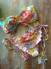 Luli Fama ~ Party Princess ~ SALE bikini ~ L ~ fun & flirty print w/tassels/SEXY