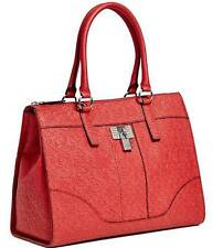 NEW GUESS RED ABELIA LOGO EMBOSSED TOTE HANDBAG BAG PURSE