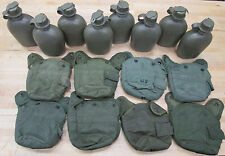 (8) US MILITARY 1 QT CANTEENS, OLIVE DRAB COVERS ~USED~