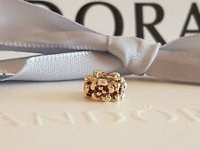 Authentic Pandora 14ct Gold 14k Ring of Flowers Spacer Charm 750269