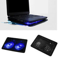 USB 2 Fan Port Cooling Cooler Pad for Laptops Notebook With LED Light Excellent