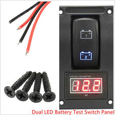 12V Car Truck SUV Marine Boat Voltmeter 2 LED Battery Test Panel Rocker Switch