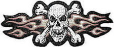 Iron On/ Sew On Embroidered Patch Badge Rebel Skull Crossbones Flames Across