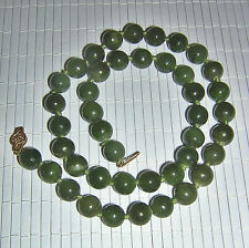 Vintage 14K Chinese Spinach Jade Necklace Excellent