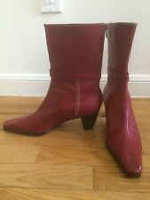 GAMA STUDIO RED LEATHER POINT TOE ANKLE BOOTS BOOTIES HEELS MADE IN ITALY SZ 8.5
