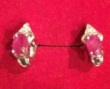 $250! NATURAL HOT RED RUBY MAIN STONE 2.60CT SILVER EARRINGS