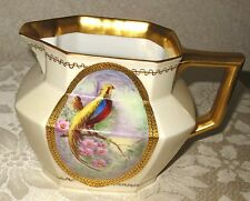 Antique JEAN POUYET Bird of Paradise O. JURY Hand Painted PITCHER Limoges JPL
