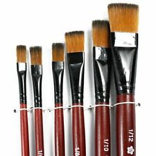 Pack of 6 Art Brown Nylon Paint Brushes for Acrylic YM