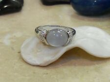 NEW!! 14K LARGE NATURAL MOONSTONE AND DIAMONDS SET EAST WEST IN WHITE GOLD RING
