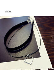 Choker Necklace Rhombus Charm Double Velvet Party Collar Necklace Gothic 90S