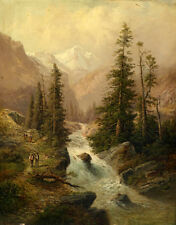 Large Oil painting sunset landscape & brook cross the mountains with people