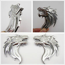 A Pair Chrome Metal 3D Wolf Head Emblem Decal Sticker Badge For Pickup Off Road