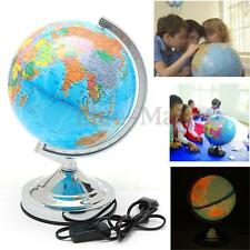 Rotating World Earth Globe With LED Lights Lamp Desktop Table Home Office Decor