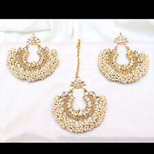 Indian Ethnic Bollywood Pearl Beads Forehead Maang Tikka earring set Jewelry