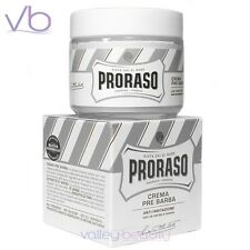 PRORASO White Pre Shave Cream For Sensitive Skin, Green Tea, Oat,  Made In Italy
