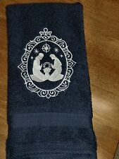 Embroidered Hand Towel - Joesph, Mary, Baby Jesus Cameo - Navy Towel