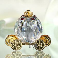 Pumpkin Carriage Paperweight Figurine Wedding Decor Xmas Gift Ornament with Box