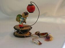 Vintage Asian Kokeshi Miniature Wood Dancing Dolls wit Drum n Red Lantern Excel