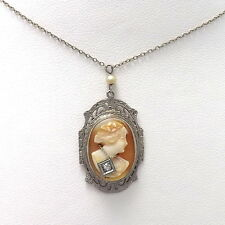 ART DECO 14K WHITE GOLD DIAMOND HABILLE CARVED CAMEO PENDANT NECKLACE  Sz 15""