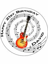 "Novelty Personalised Guitar 7.5"" Edible Wafer Paper Cake Topper birthday music"