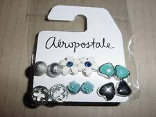 aeropostale womens girls floral heart stud earring 6-pack NEW