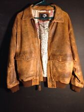VTG 70s 80s Tiger Fox Brown DLeather Bomber Jacket Mens SZ S A2 G1 Style Flight