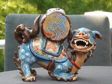 Antique Asian Cloisonne Enamel Foo Dog Incense Burner Statue Sterling Silver Lid