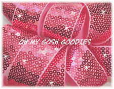 1.5 SHINY SEQUIN SPARKLE GLITZ BLING METALLIC RIBBON 4 CHEER HAIRBOW PINK 5YD