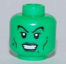 LEGO - Minifig, Head Dark Green Lips and Warts, Black Cheek Lines (Witch)