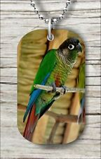 BIRD GREEN CHEEKED CONURE #2 DOG TAG NECKLACE -fty6X