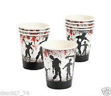 8 HALLOWEEN Party ZOMBIE Bloody Blood Splattered Paper Beverage CUPS 9oz