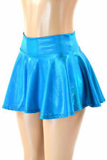 "EXTRA SMALL 13"" Peacock Blue Holographic Circle Cut Mini Skirt Ready To Ship!"