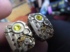 lovely pair steampunk  watch movement cufflinks best man valentine gift yellow