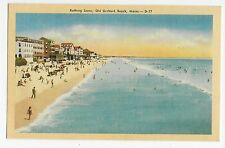 Old Orchard Beach ME Maine Bathing Scene Linen Vintage Postcard