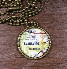 NEW HARMONY HWY 64 EVANSVILLE INDIANA USA Map Pendant necklace vntg ATLAS f04