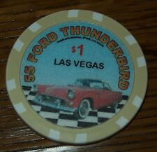 1955 Ford Thunderbird $1 Poker Chip Card Guard Gamblers Store Las Vegas Car Auto