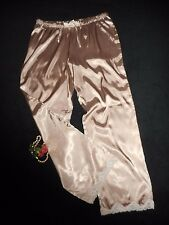 "USA M Glossy Satin Lounge Pants Champagne Beige Lace Hem Drawstring 30.5"" inseam"