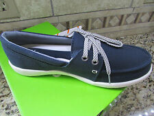 NEW CROCS WALU II NAVY CANVAS SKIMMER LOAFER SHOES WOMENS 7 FREE SHIP