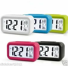 Digital Smart Backlit LCD Display Alarm Clock Snooze Calendar Temperature-Blue