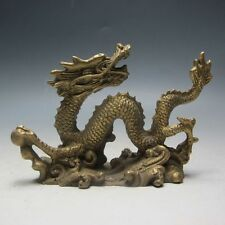 Old Chinese Handwork brass Carved Dragon Play Bead Statue.
