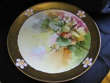 Vintage Decorative Thomas Sevres Bavaria Goose Berry? Painted Signed Plate