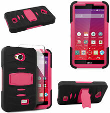 Built-in Screen Black Pink Rugged Case For LG Transpyre VS810PP Verizon Phone