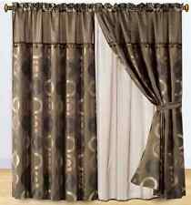 Luxury 4 Piece Soft Jacquard Window Curtain Set 460 Diamond Coffee Circle
