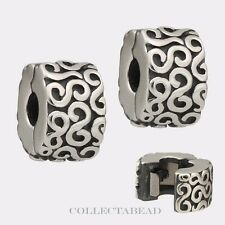 Authentic Pandora Sterling Silver Fancy S Clips (2) 790338