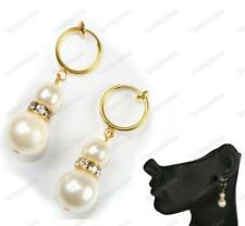 CLIP ON hoop PEARL&CRYSTAL EARRINGS cream gold pltd CLIPS mini hoops rhinestone