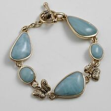 Barse Jewelry Amazonite and Bronze Butterfly Toggle Bracelet