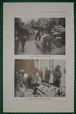 1916 WWI WW1 PRINT HOSPITAL TRAIN AT VERDUN ~ WOUNDED IN FRENCH DRESSING STATION