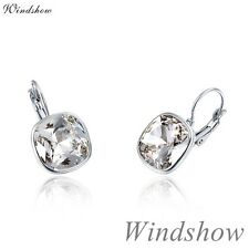 18K White Gold Filled Clear Crystals Square Hoop Earrings Element