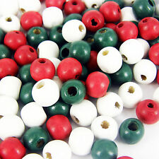 *100*  10mm CHRISTMAS RED GREEN AND WHITE MIXED  WOODEN ROUND CRAFT BEADS W13