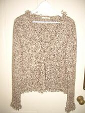 Laura Ashley beige brown speckled wool mix fringed edge cardigan, jacket, 14-16